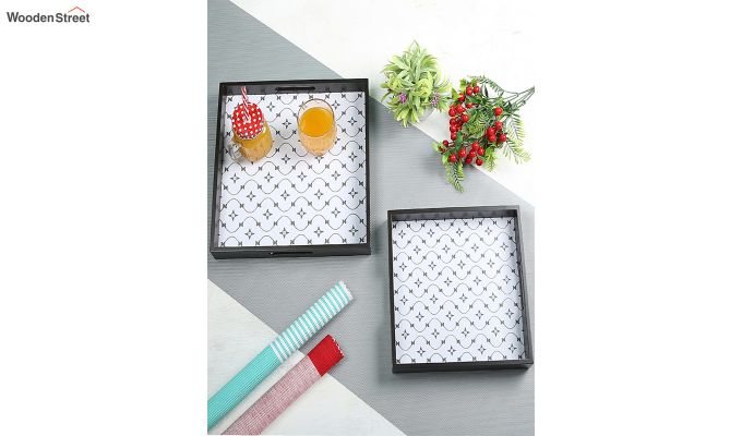 MDF Star Pattern Square Serving Tray - Set of 2-1