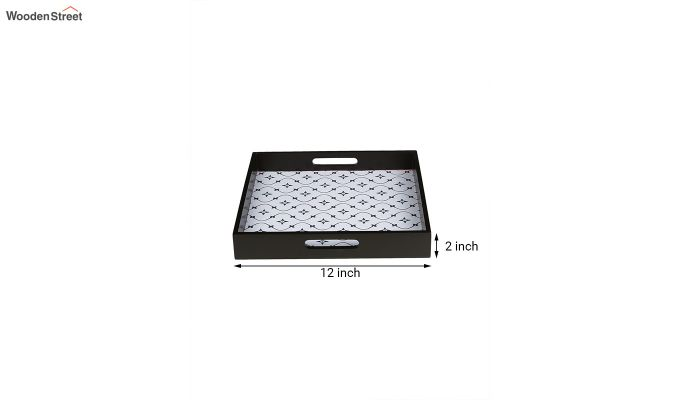 MDF Star Pattern Square Serving Tray - Set of 2-5