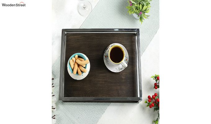 Steel Border Acacia Wood Large Serving Tray-1