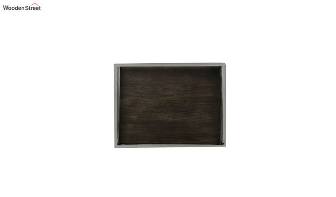 Steel Border Acacia Wood Large Serving Tray-4