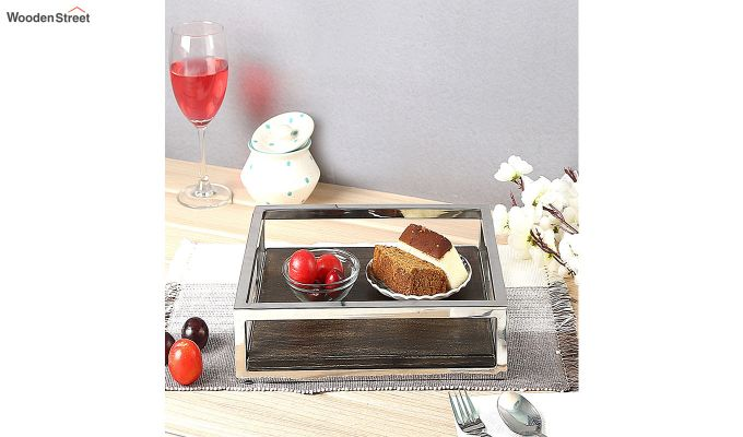 Steel Border Acacia Wood Medium Serving Tray-1