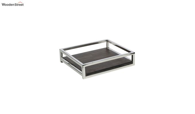 Steel Border Acacia Wood Medium Serving Tray-2