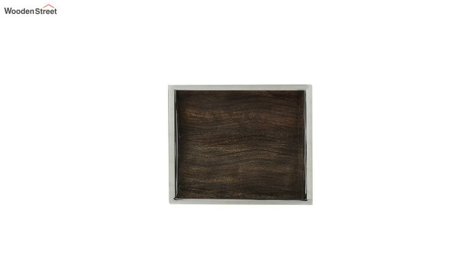 Steel Border Acacia Wood Medium Serving Tray-3