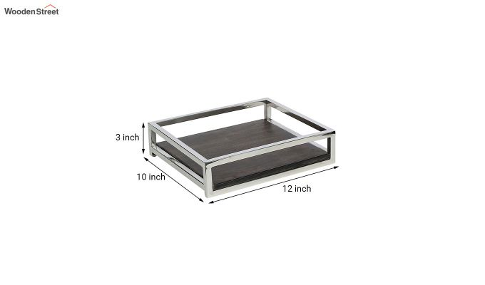 Steel Border Acacia Wood Medium Serving Tray-5