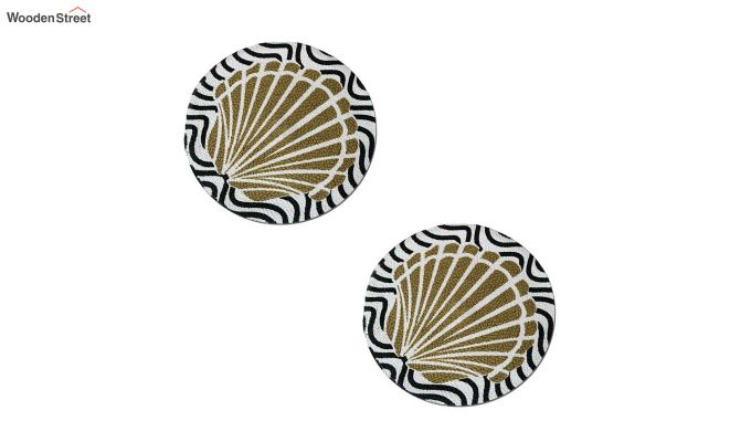 Black and Beige Cotton Table Placemats - Set of 2-5