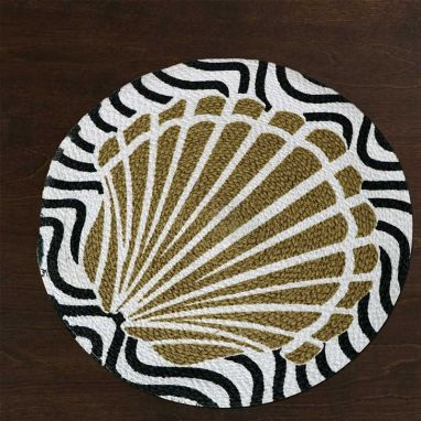 Black and Beige Cotton Table Placemats - Set of 2