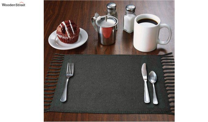 Black Cotton Table Placemats (13×19 Inch , Pack of 4)-1