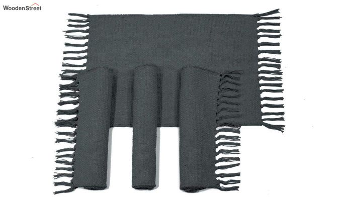 Black Cotton Table Placemats (13×19 Inch , Pack of 4)-2