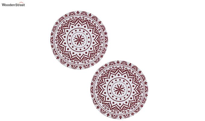Maroon Cotton Braided Round Table Placemats - Set of 2-3