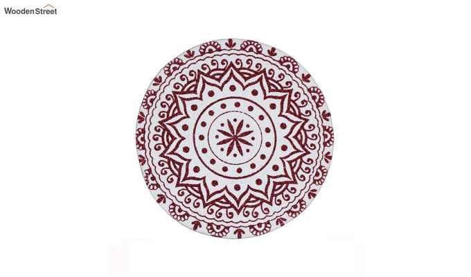 Maroon Cotton Braided Round Table Placemats - Set of 2-4