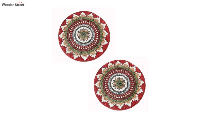 Multicolour Cotton Braided Round Table Placemats - Set of 2-3