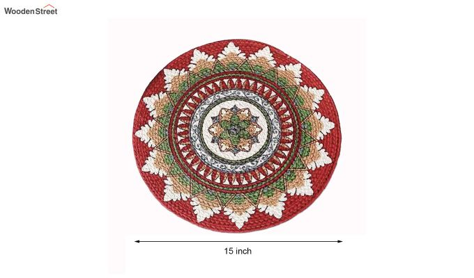 Multicolour Cotton Braided Round Table Placemats - Set of 2-5
