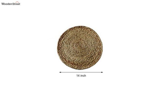 Natural Beige Jute Braided Round Table Placemats - Set of 4-6