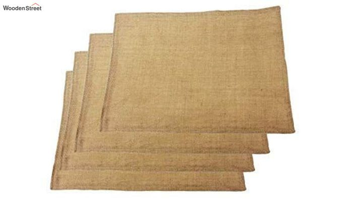 Natural Beige Jute Burlap Plain Border Placemats - Set of 4-3