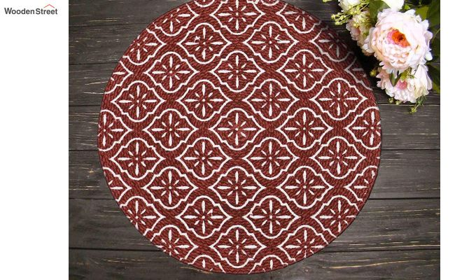 Red Cotton Braided Round Table Placemats - Set of 4-1