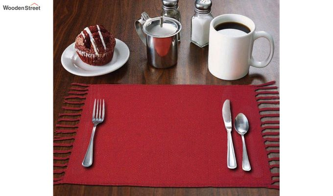 Red Cotton Table Placemats (13×19 Inch , Pack of 4)-1