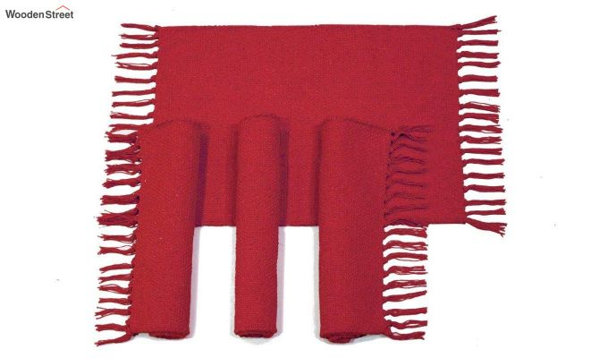 Red Cotton Table Placemats (13×19 Inch , Pack of 4)-2