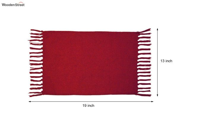 Red Cotton Table Placemats (13×19 Inch , Pack of 4)-6