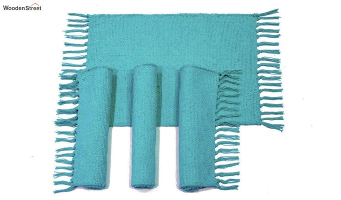 Turquoise Cotton Table Placemats (13×19 Inch , Pack of 4)-2