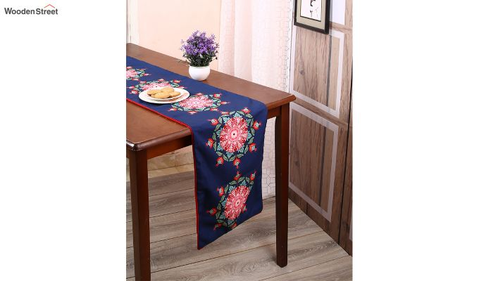 Blue Printed PolyCanvas Fabric Table Runner (72 x 14 inches)-1