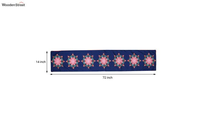 Blue Printed PolyCanvas Fabric Table Runner (72 x 14 inches)-5