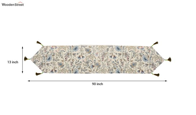Cotton White Table Runner (90 x 13 inches)-5