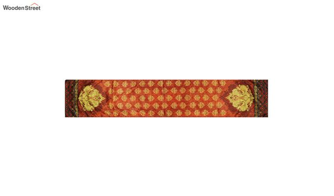 Orange Printed Polyester Satin Silk Fabric Table Runner (72 x 14 inches)-2