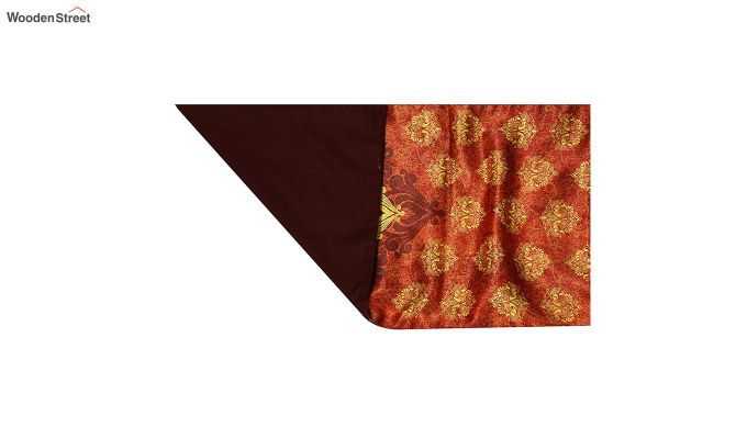 Orange Printed Polyester Satin Silk Fabric Table Runner (72 x 14 inches)-4