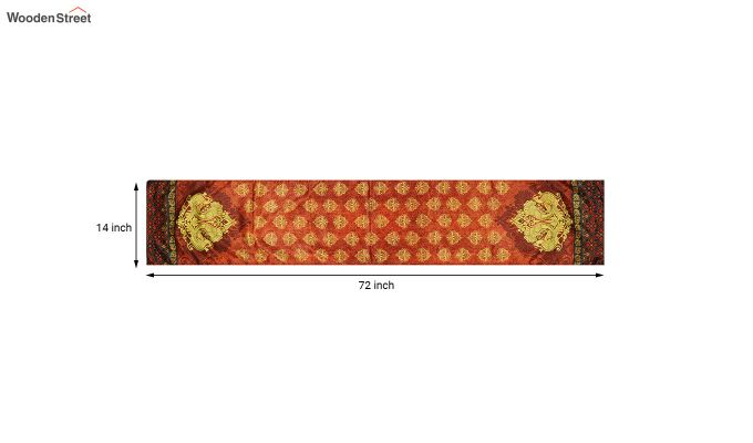 Orange Printed Polyester Satin Silk Fabric Table Runner (72 x 14 inches)-5