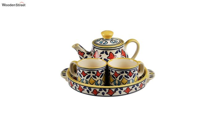 Rangriti Yellow Red Ceramic Tea Pot - Set of 4-2