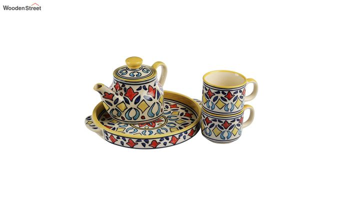 Rangriti Yellow Red Ceramic Tea Pot - Set of 4-3
