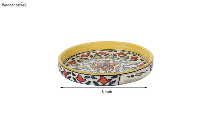 Rangriti Yellow Red Ceramic Tea Pot - Set of 4-6