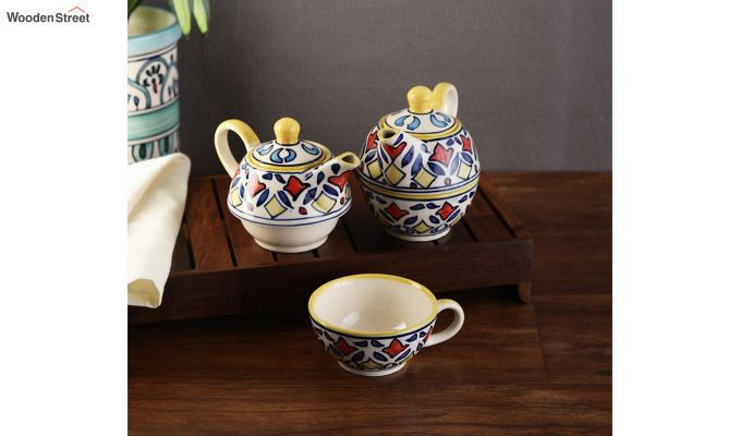Rangriti Yellow Red Ceramic Tea Pot with Cup - Set of 2-1