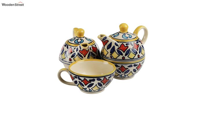 Rangriti Yellow Red Ceramic Tea Pot with Cup - Set of 2-2