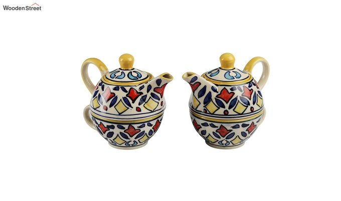 Rangriti Yellow Red Ceramic Tea Pot with Cup - Set of 2-3