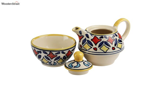 Rangriti Yellow Red Ceramic Tea Pot with Cup - Set of 2-4