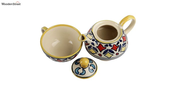 Rangriti Yellow Red Ceramic Tea Pot with Cup - Set of 2-5