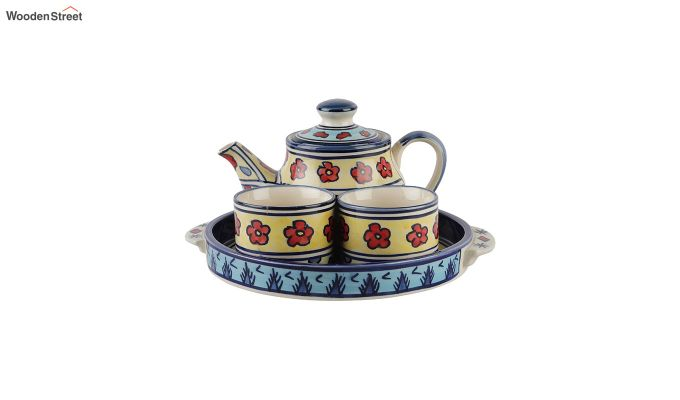 Red Flowers Ceramic Tea Pot - Set of 4-3