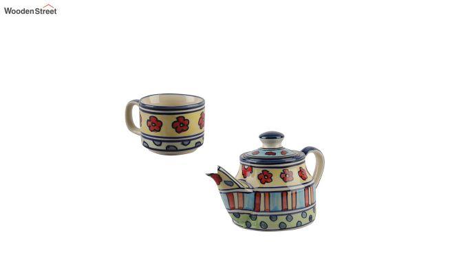 Red Flowers Ceramic Tea Pot - Set of 4-5