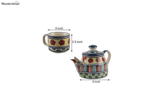 Red Flowers Ceramic Tea Pot - Set of 4-6