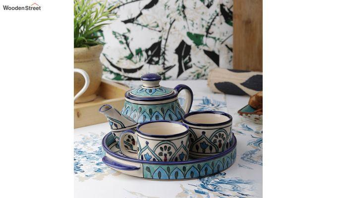 Royal Crown Blue Ceramic Tea Pot - Set of 4-1