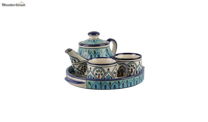 Royal Crown Blue Ceramic Tea Pot - Set of 4-3