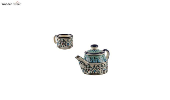 Royal Crown Blue Ceramic Tea Pot - Set of 4-4