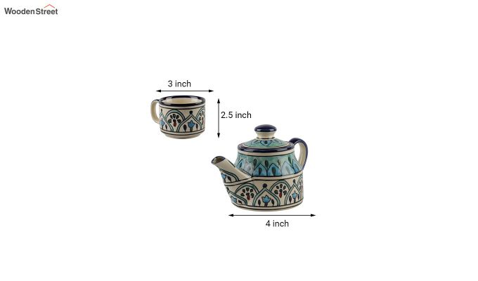 Royal Crown Blue Ceramic Tea Pot - Set of 4-5