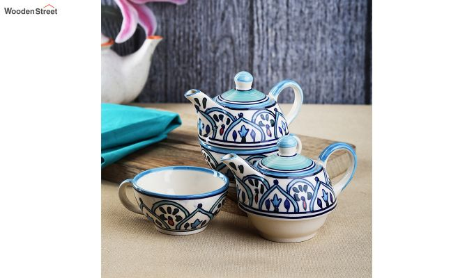 Royal Crown Blue Ceramic Tea Pot with Cup - Set of 2-1