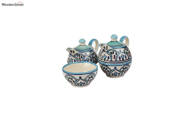 Royal Crown Blue Ceramic Tea Pot with Cup - Set of 2-2
