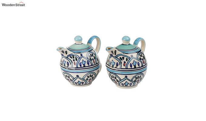 Royal Crown Blue Ceramic Tea Pot with Cup - Set of 2-3