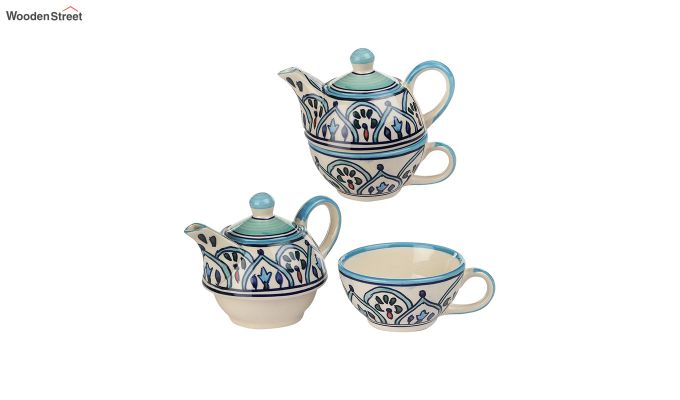 Royal Crown Blue Ceramic Tea Pot with Cup - Set of 2-4