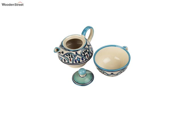 Royal Crown Blue Ceramic Tea Pot with Cup - Set of 2-5
