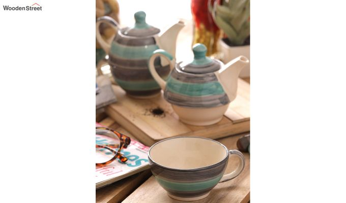 Twirling Green Hand Made Ceramic Cup with Kettle Set- Set of 2-1